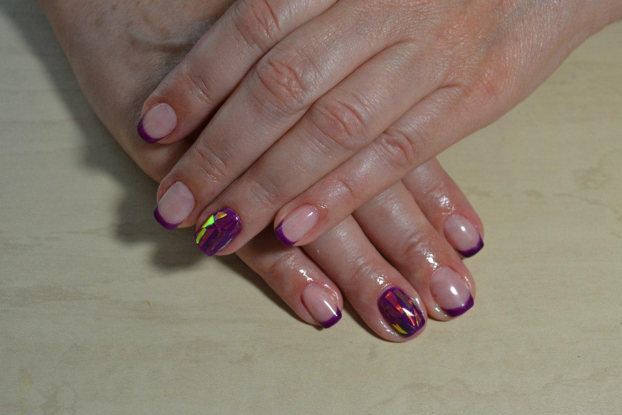Битое стекло с фиолетовый френчем