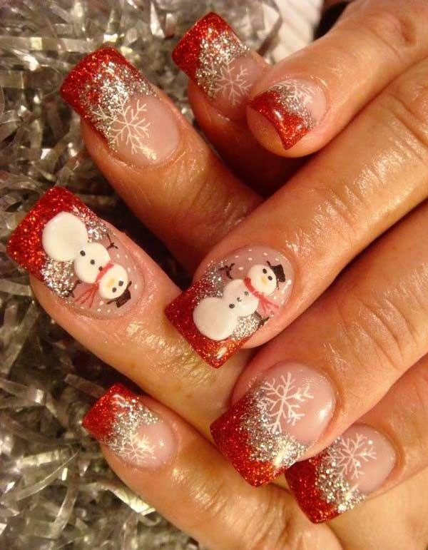 Веселый снеговик с красным френчем