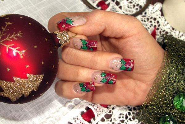 Новогодние длинные ногти