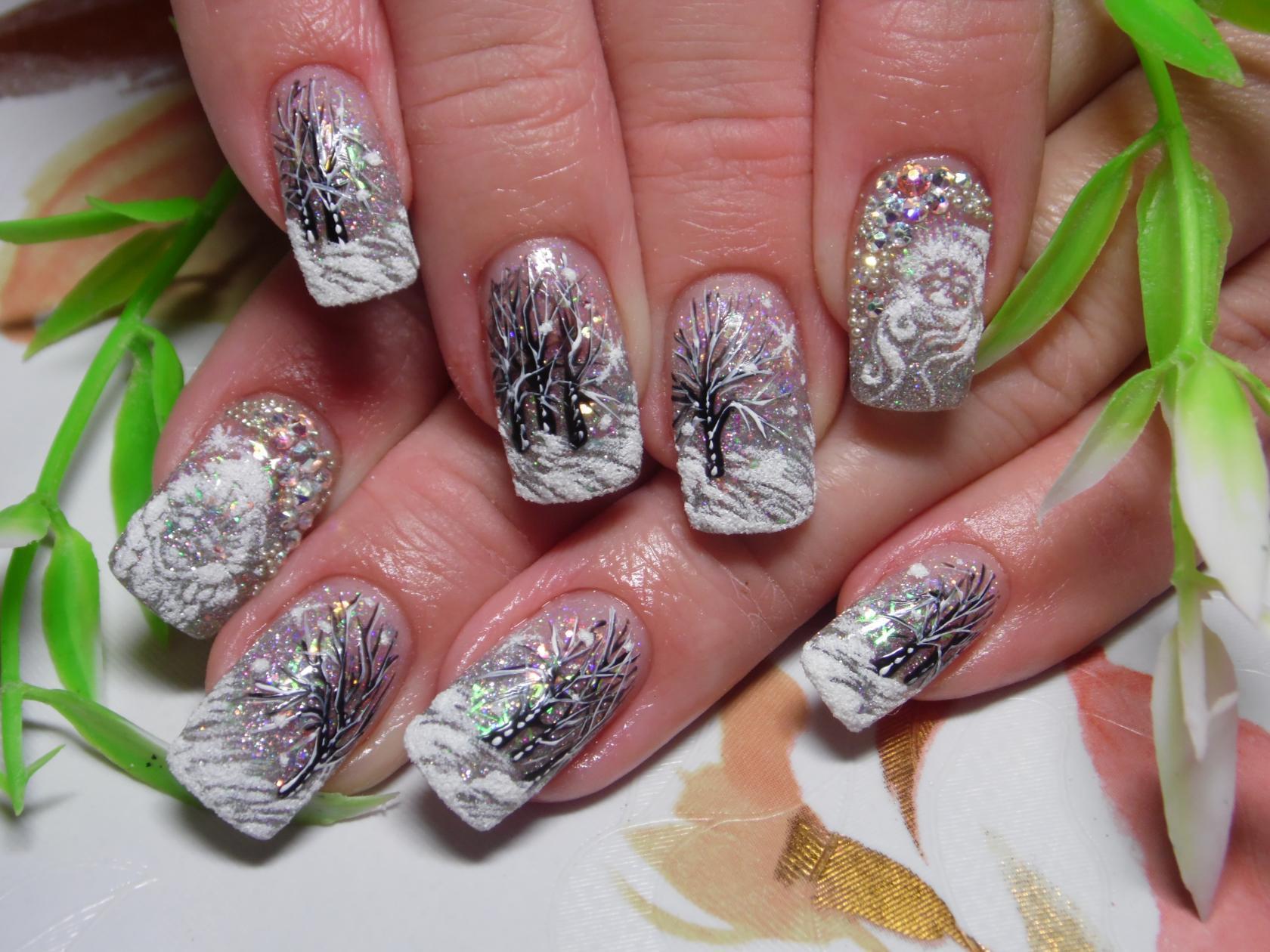 Рисунки на настоящих ногтях фото