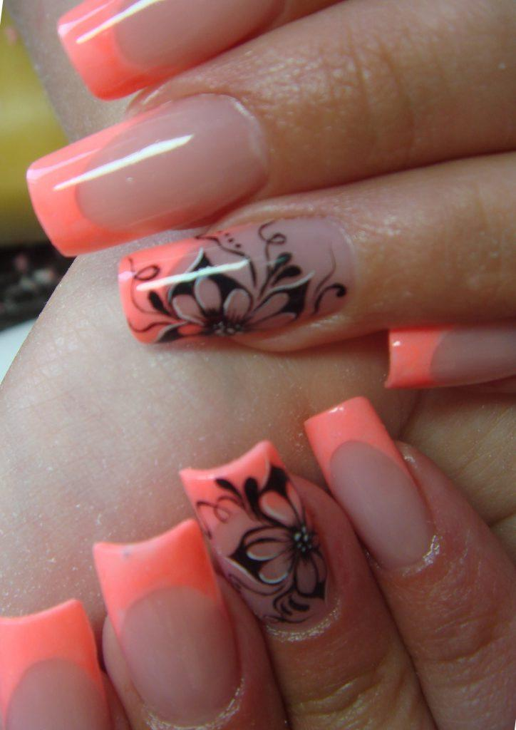 Дизайн ногтей коралловый френч