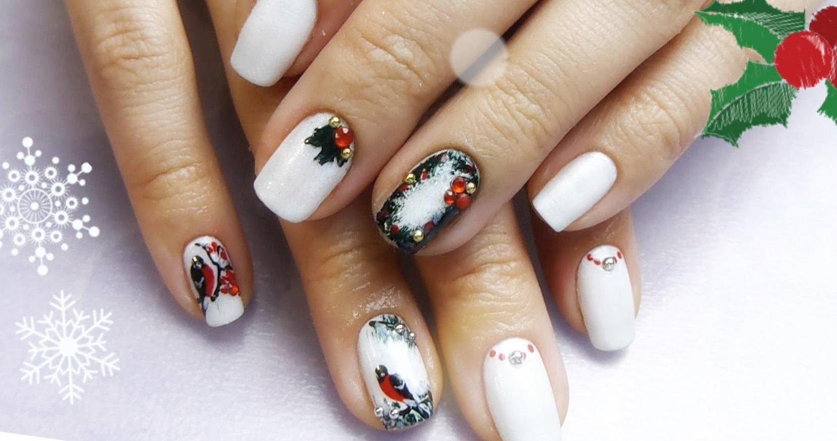 Красивый новогодний маникюр со снегирями — Modnail.ru — Красивый ...