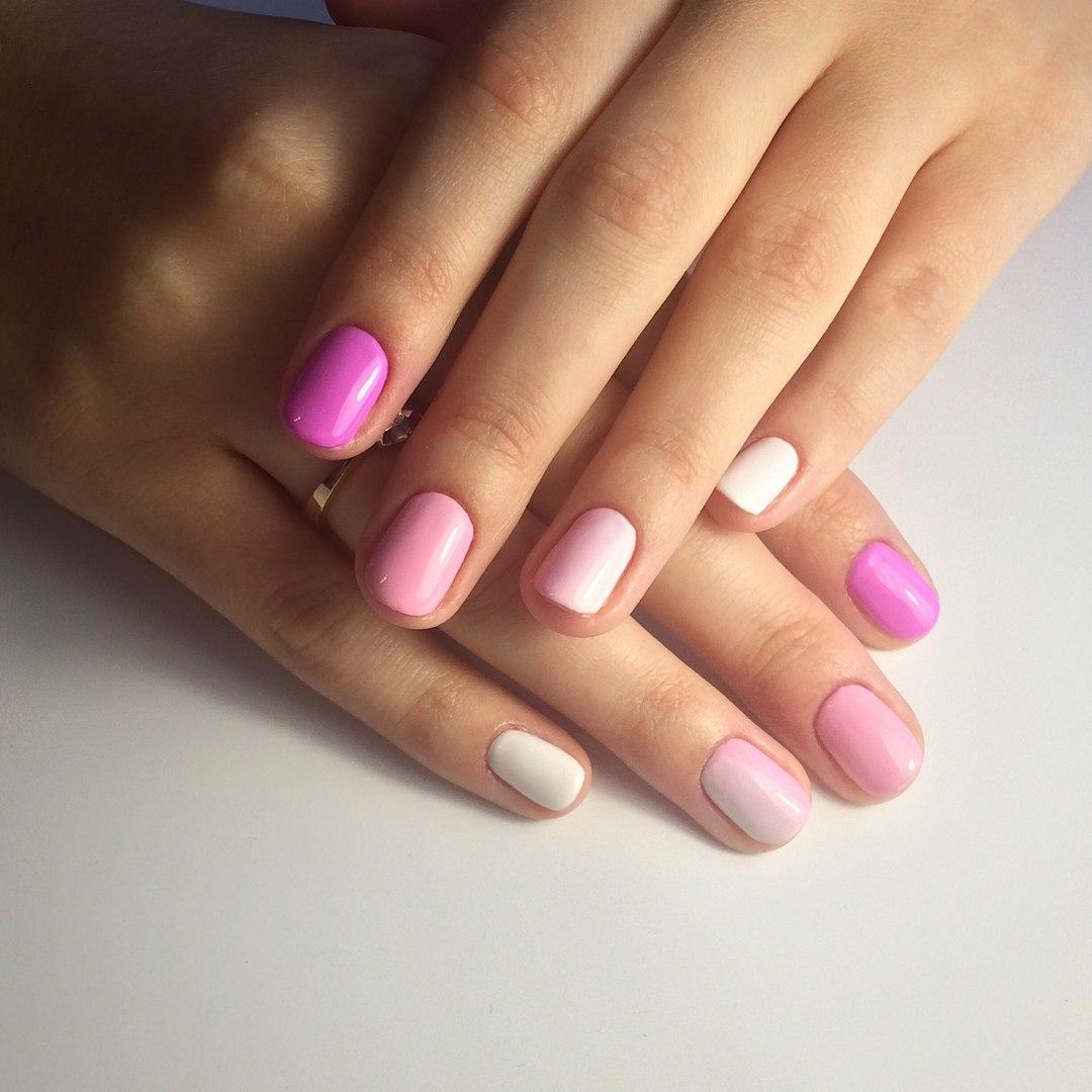 Белые Ногти С Розовым Рисунком