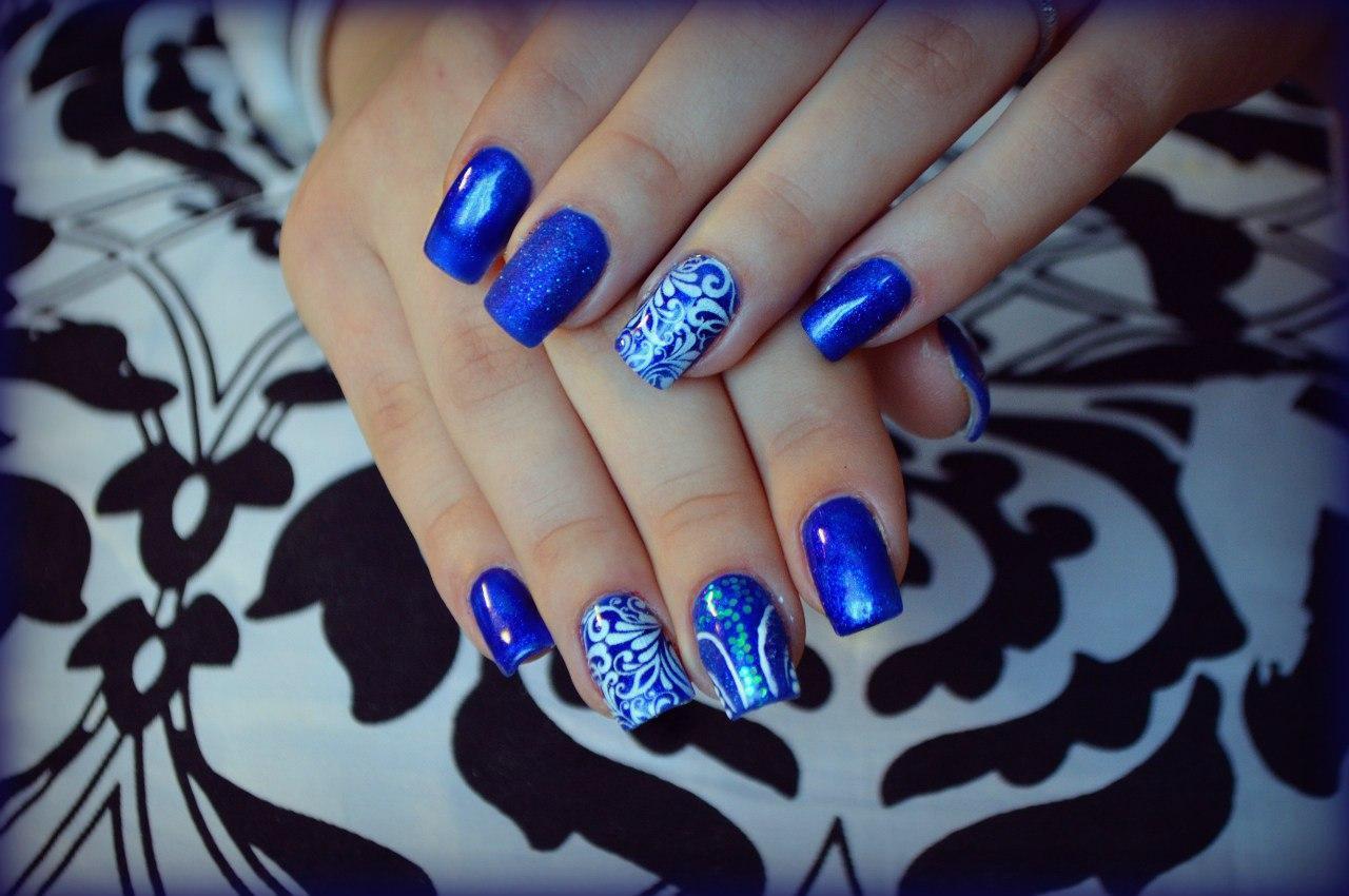 Синий Шеллак На Ногтях Дизайн