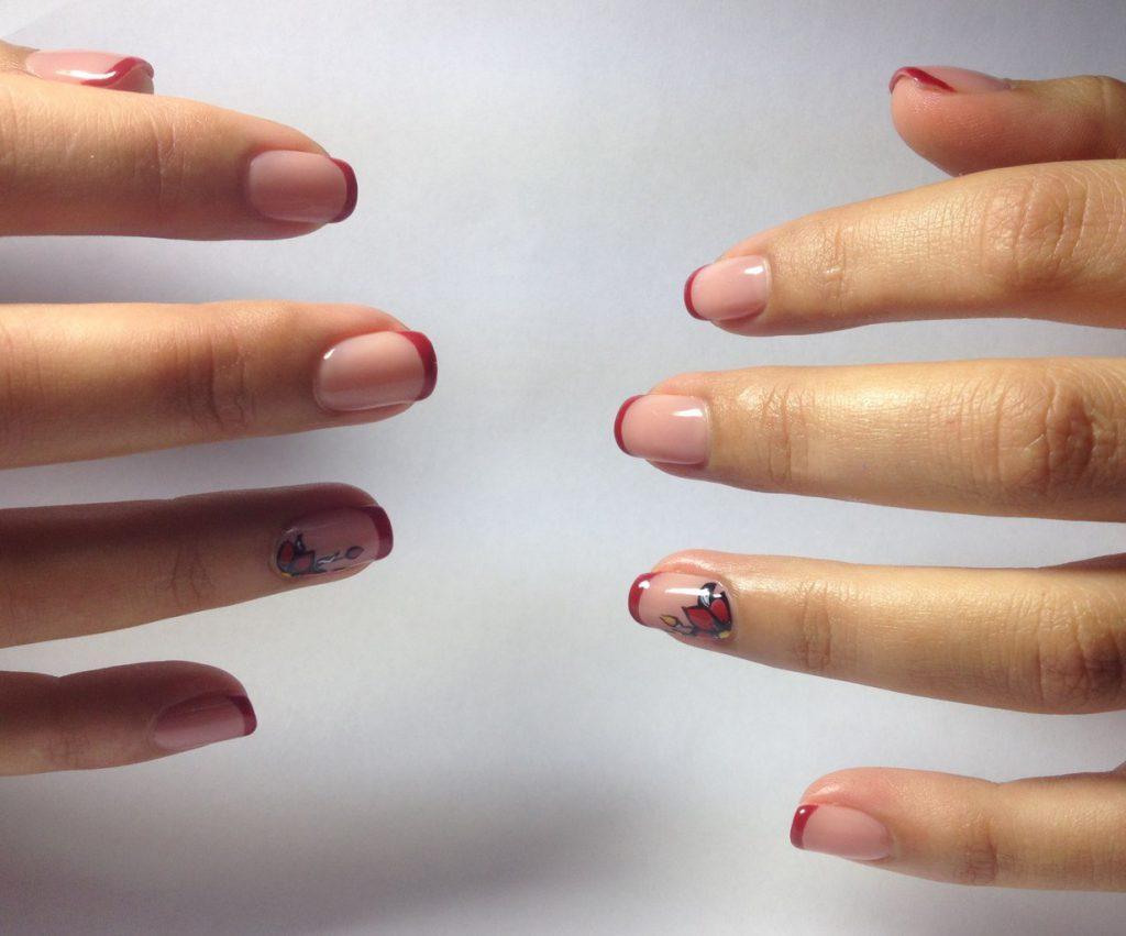 Дизайн ногтей вишневый френч