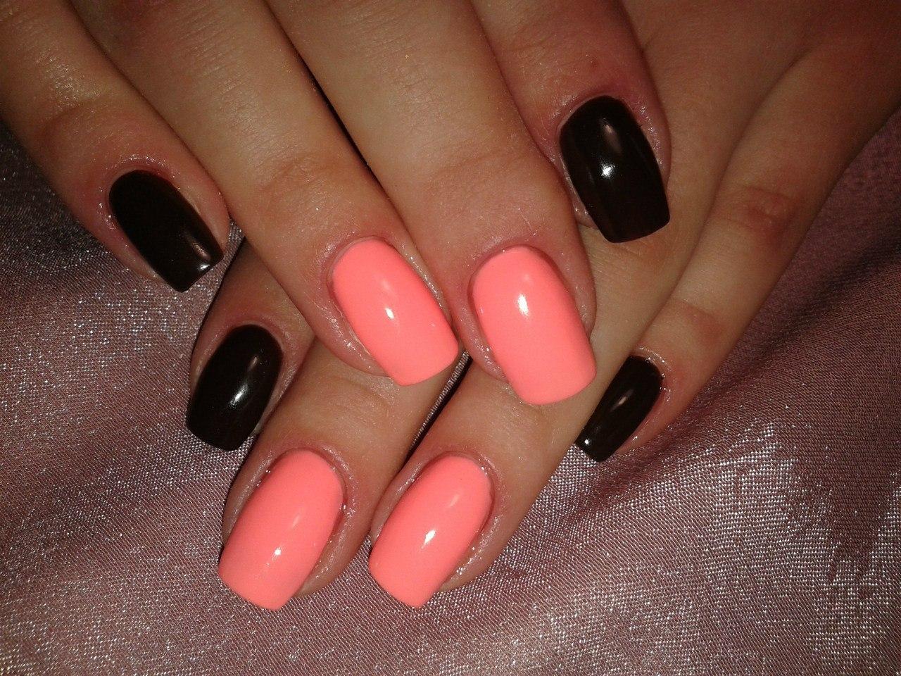 Ногти гель лак фото розовый с черным