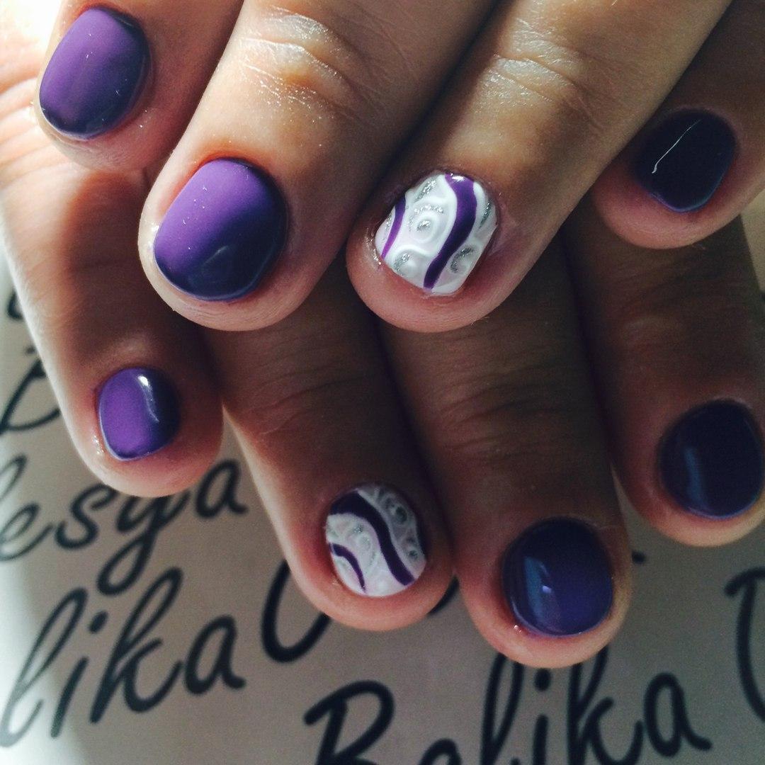 Шикарная роспись на короткие ногти