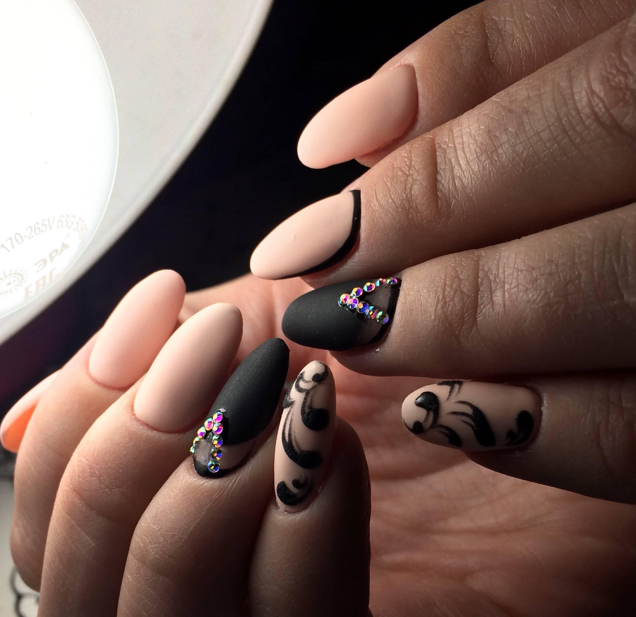 Рисунок гелем на матовых ногтях фото
