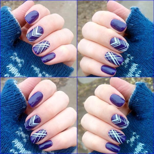 Ярко-синий маникюр со стемпингом