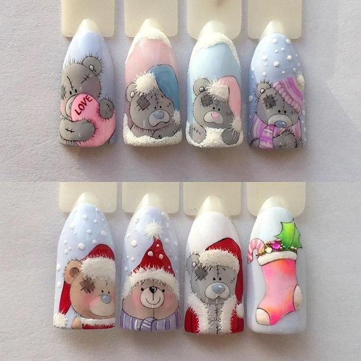 Художественная роспись — мишки Тедди на ногтях