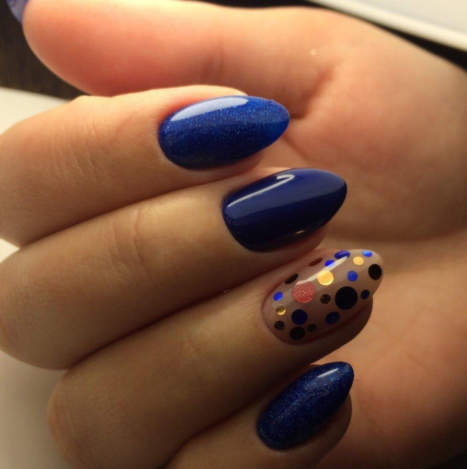 Синий глиттер с разноцветными конфетти