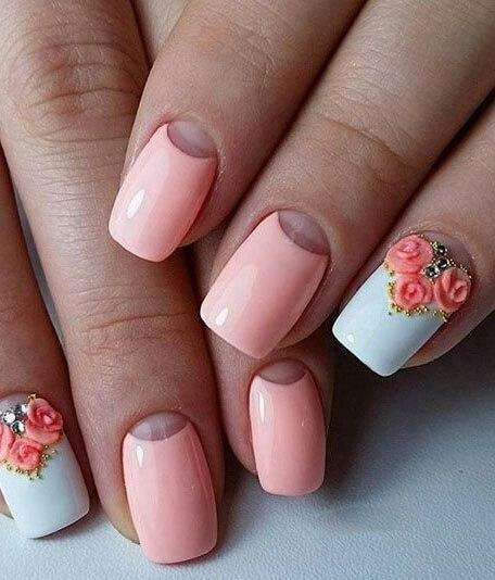 Лепка розы на нежных ногтях