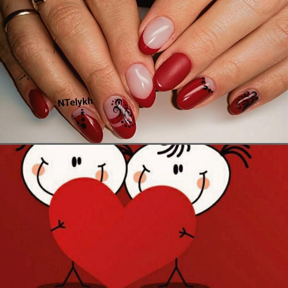 Красный матовый маникюр на день Влюбленных