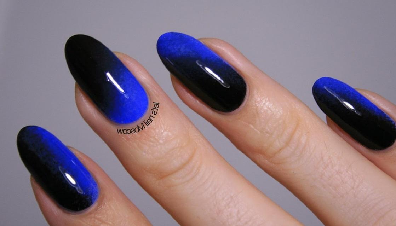 Черно-синий омбре на овальные ногти