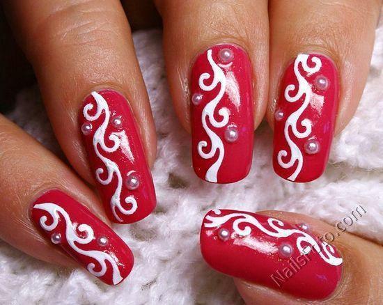 Белый рисунок на ногтях