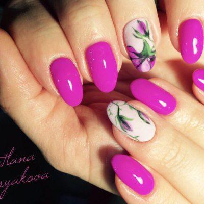 Весенняя позитивная роспись в фиолетовых тонах