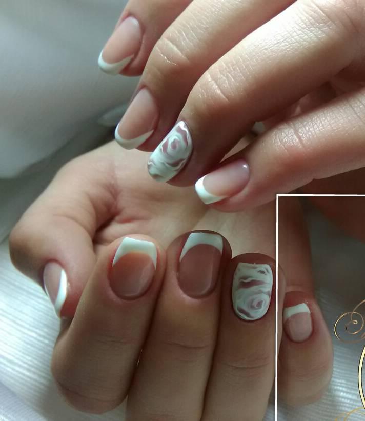 Нежный свадебный маникюр на средние ногти