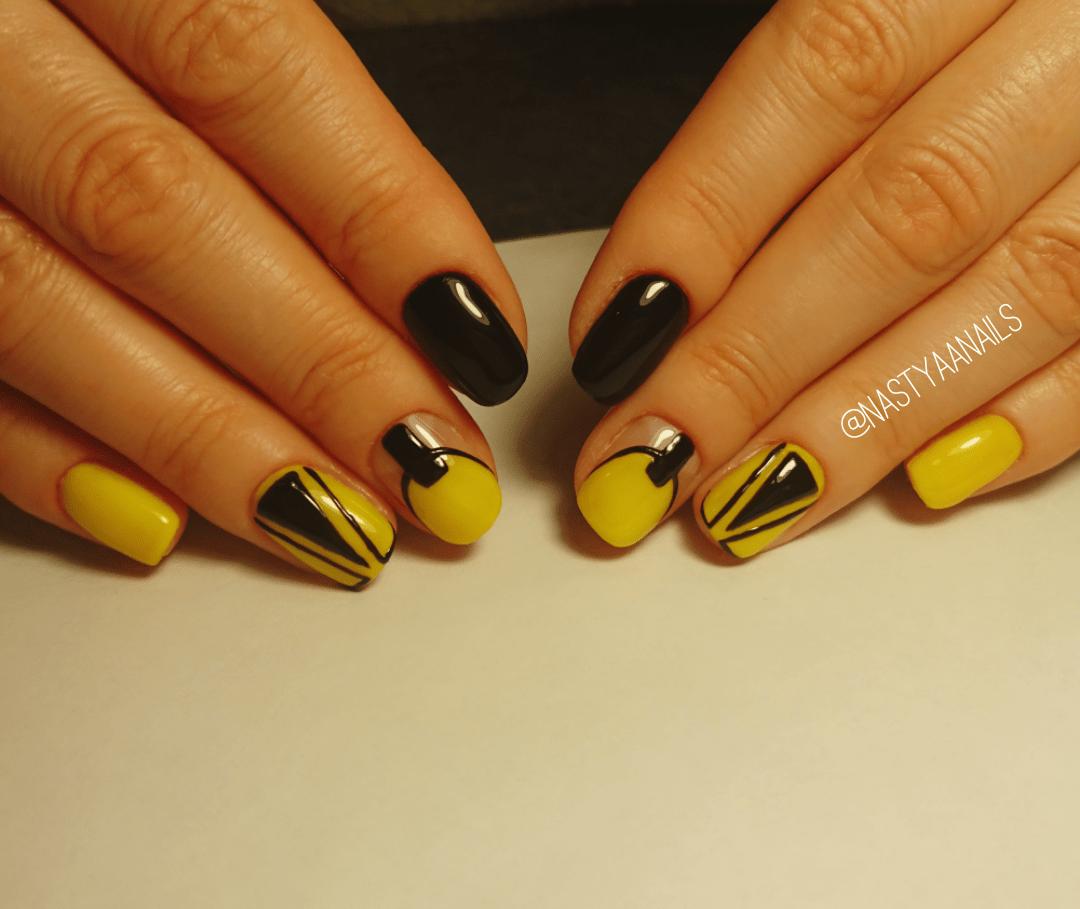Черный с желтым маникюр