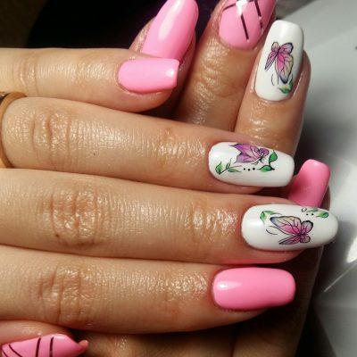 Весенний розовый маникюр со слайдером