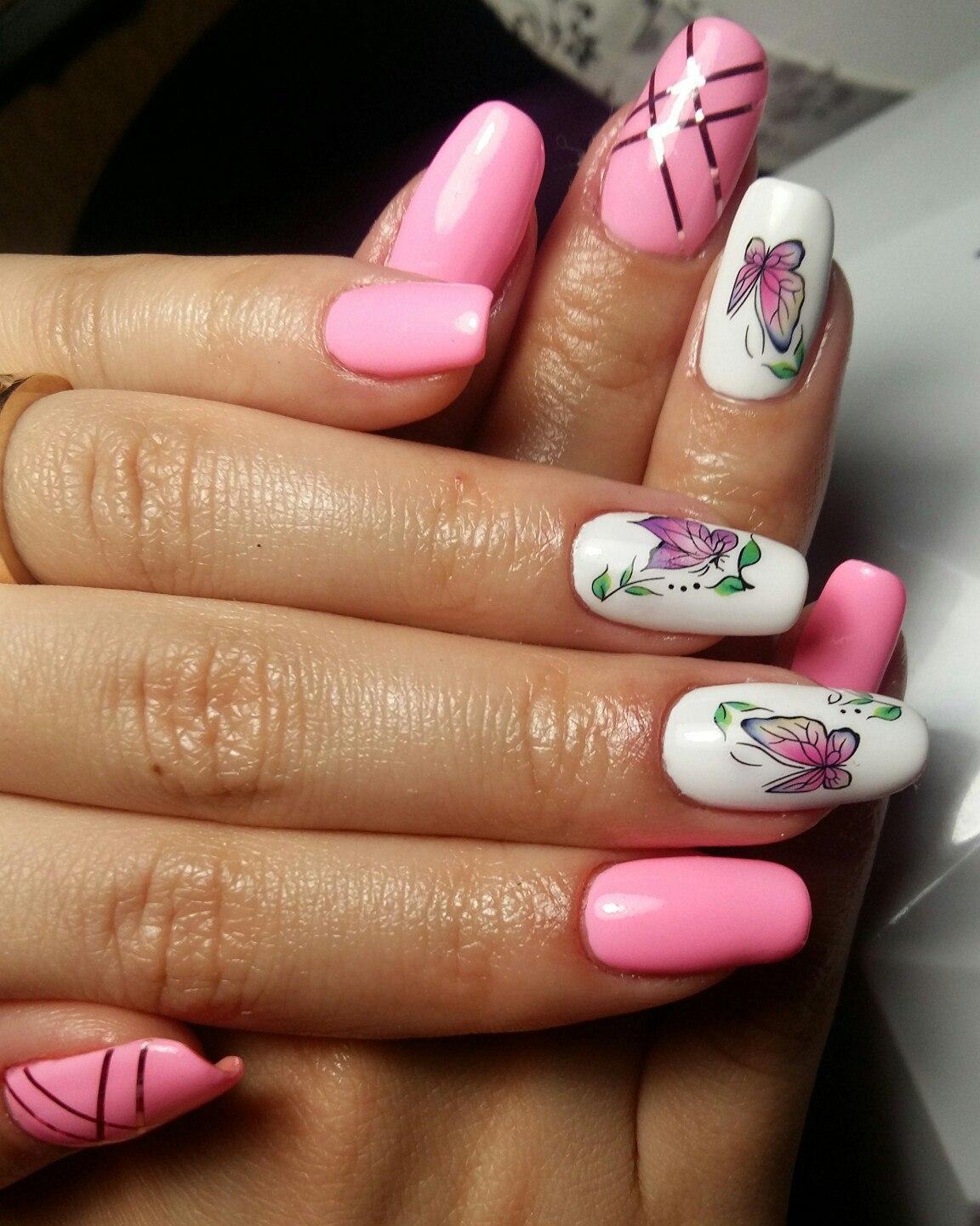 Очень красивый розовый маникюр фото