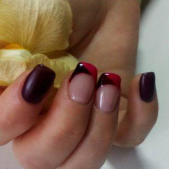 Наращивание ногтей гелем и сложный френч
