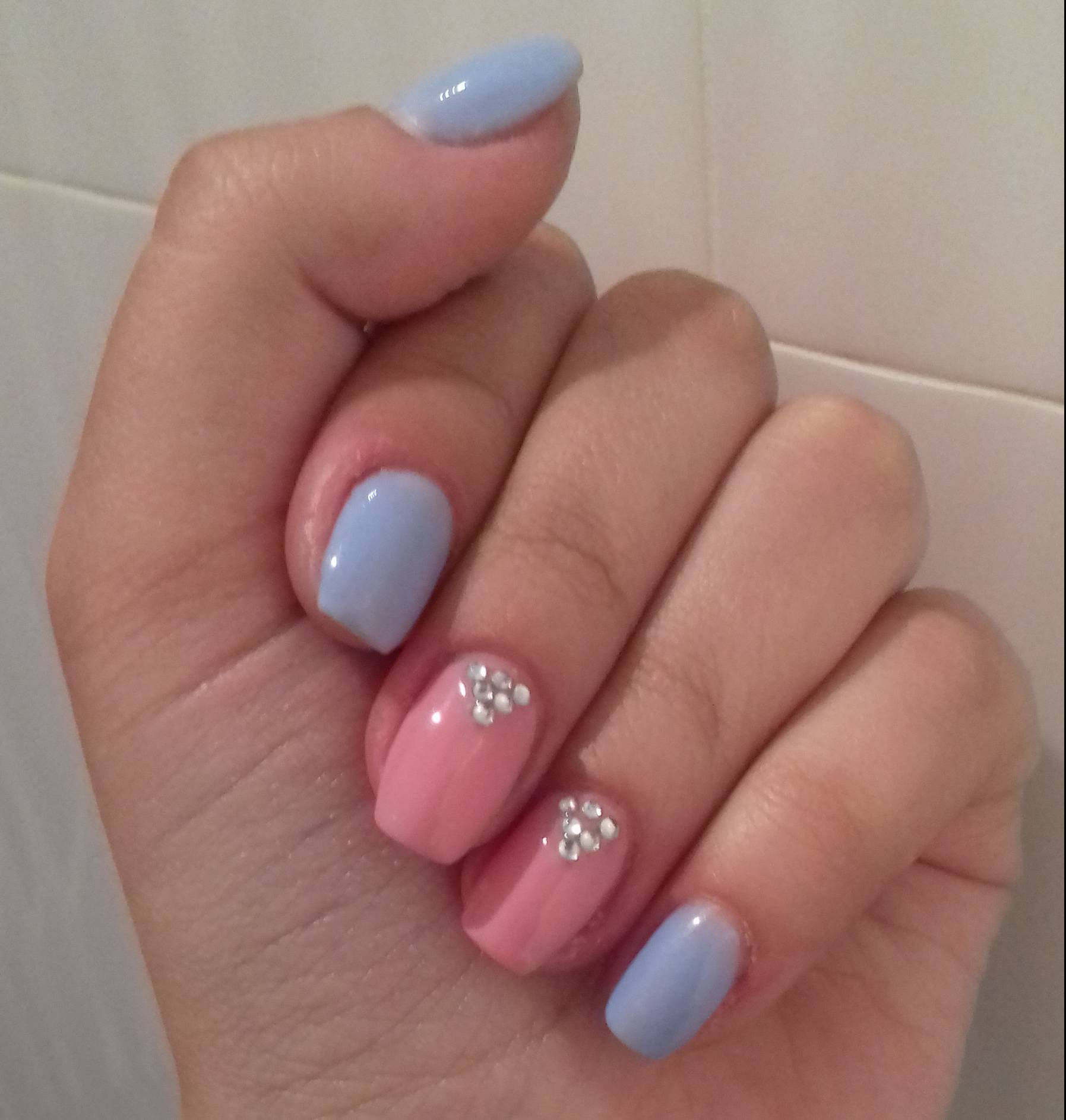 Педикюр 2018 синий с розовым фото