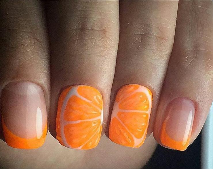 Нарисовать апельсин на ногтях пошагово