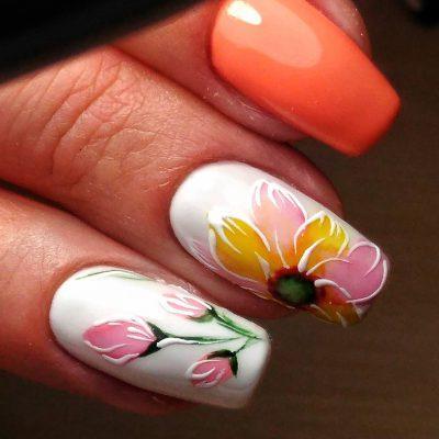 Объемная роспись на длинных ногтях