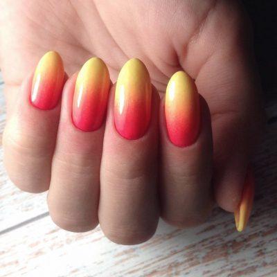 Огненный маникюр с омбре для длинных ногтей