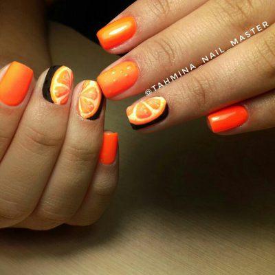 Апельсиновый маникюр для лета