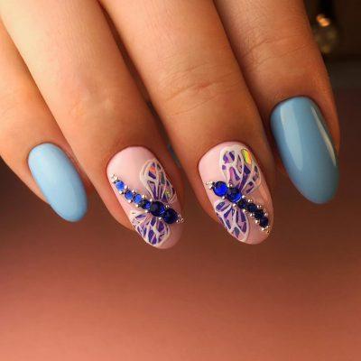 Синие стрекозки для летнего маникюра