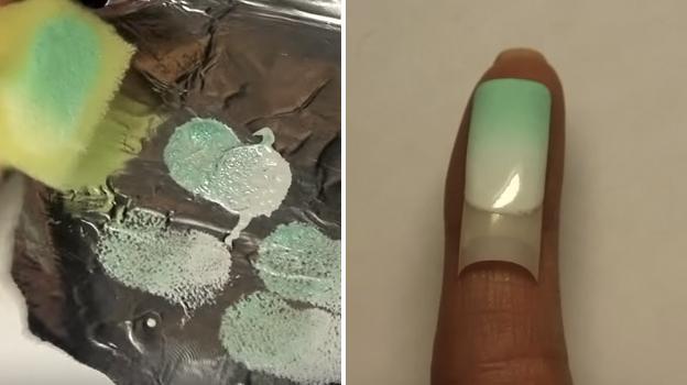 Дизайн ногтей градиент с фольгой