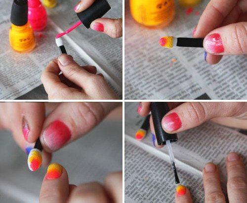 Дизайн ногтей градиент с аппликатором для теней