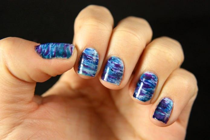 Результат дизайна ногтей градиент кисточками