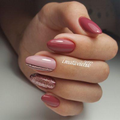 Элегантный маникюр с розовой втиркой