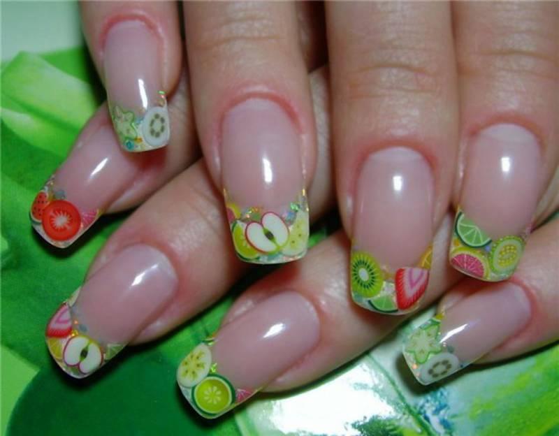 фруктовый дизайн ногтей с помощью фимо