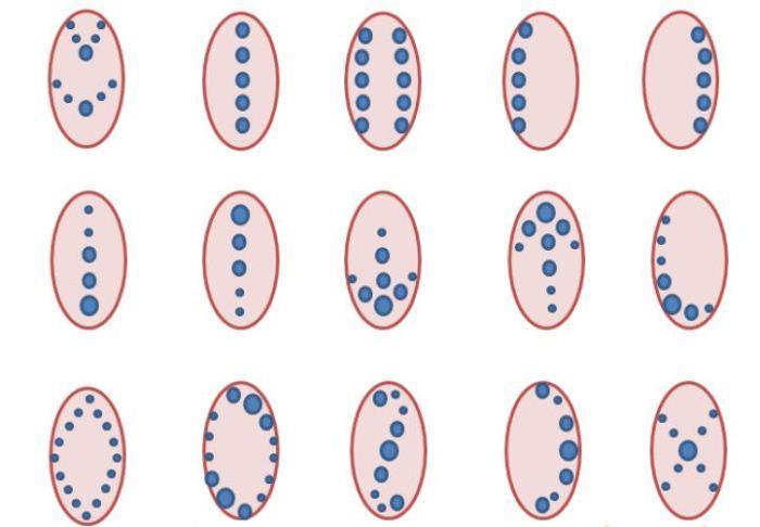 Примеры вензелей на ногтях из точек