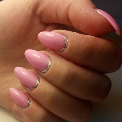 Серебряная лунка для розовых ногтей