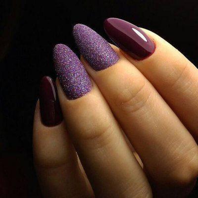 Сахарный фиолетовый маникюр на длинные ногти