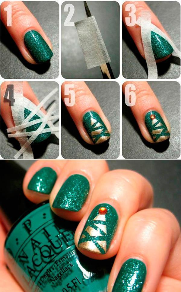 как сделать елку на ногтях