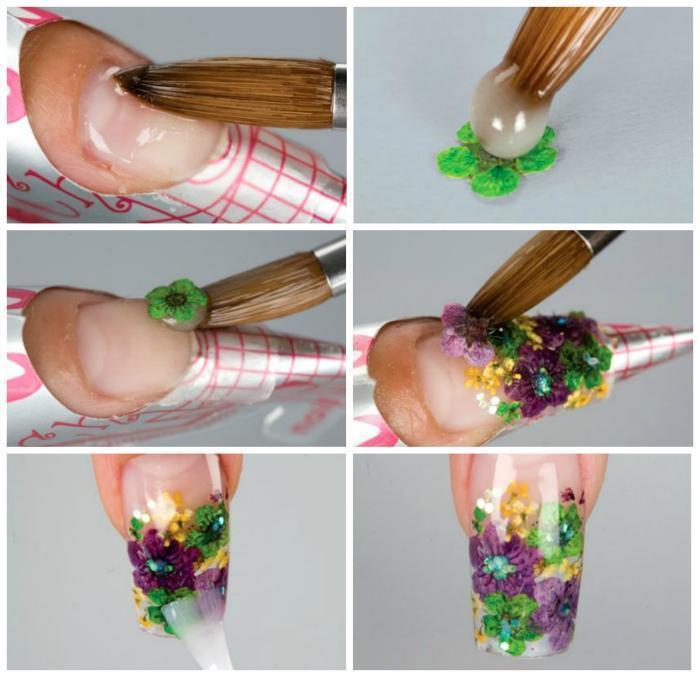 как сделать маникюр с сухоцветами
