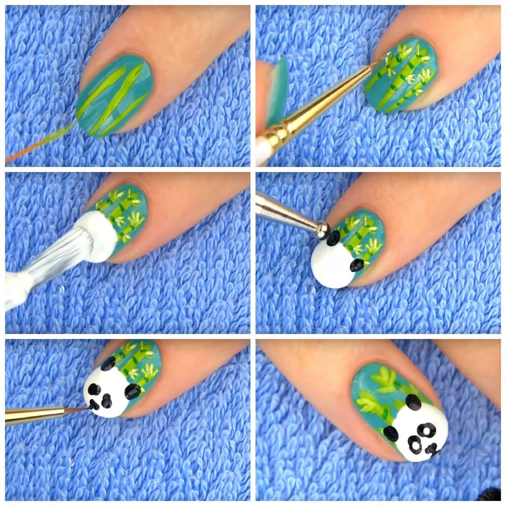 как нарисовать панду на ногтях пошагово
