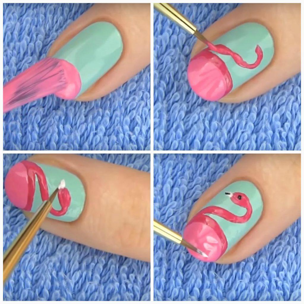 как нарисовать фламинго на ногтях