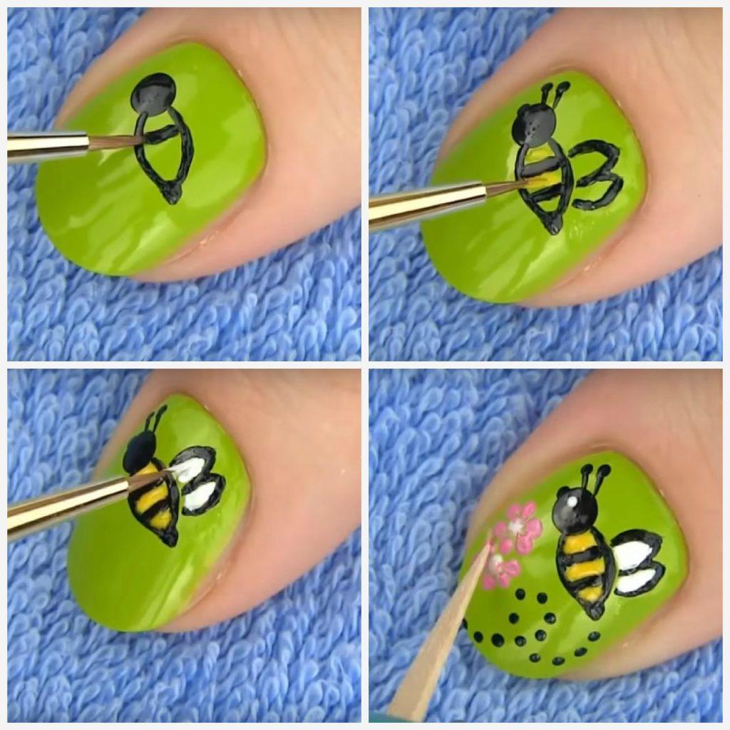 как рисовать пчелу на ногтях