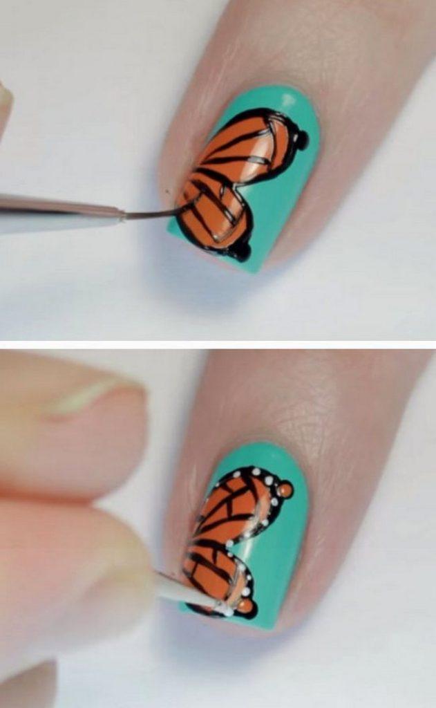 инструкция, как поэтапно нарисовать бабочку на ногтях