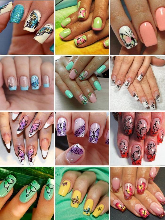 несколько идей бабочек на ногтях