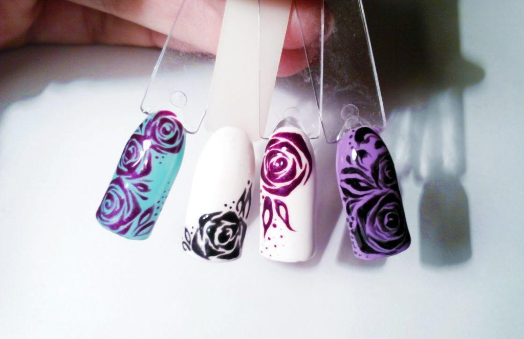 как нарисовать розу гель красками