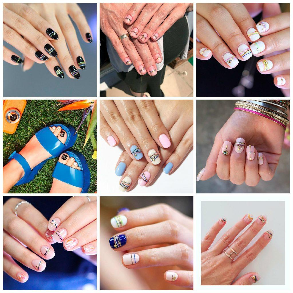 полоски браслеты на ногтях