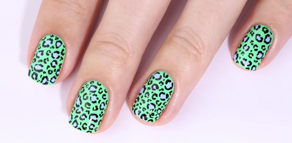неоновые ногти с леопардом