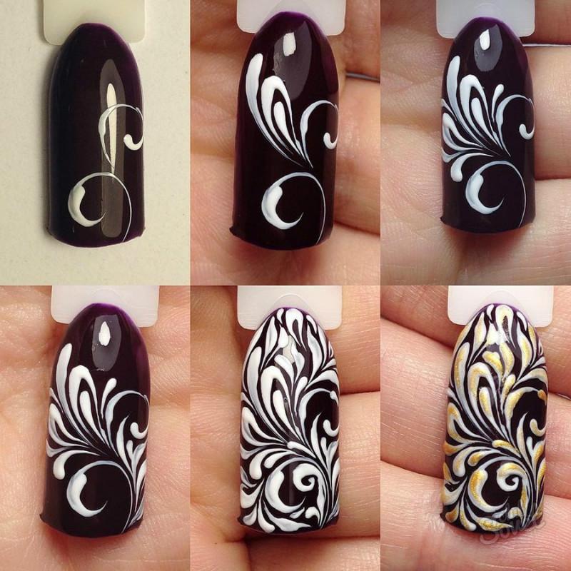 вензеля рисунок на ногтях